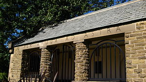 Per ardua ad astra - The motto carved into the shelter at Stonefall cemetery in Harrogate, which has Air Force graves from many Commonwealth air forces.