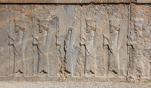 Bas-reliefs of Achaemenid warriors at the Southern staircase of Tachara in Persepolis, today Iran.