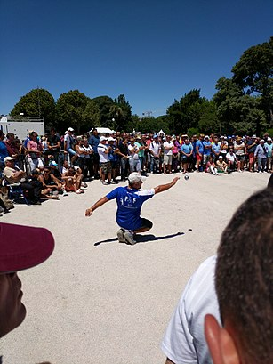 The sport of Pétanque being played in Marseille