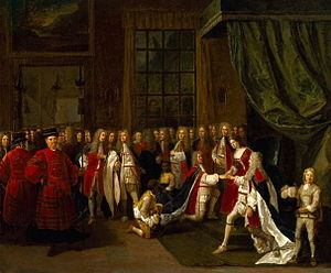Peter Angelis - Queen Anne and the Knights of the Garter from about 1720, now in the National Portrait Gallery
