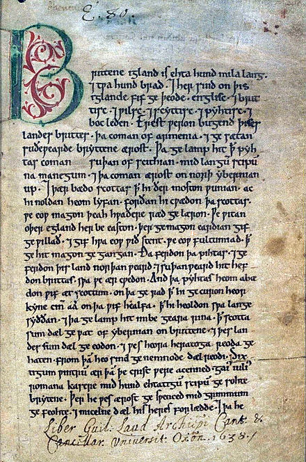 The first page of the Peterborough element of the Anglo-Saxon Chronicle, written around 1150, one of the chronicler accounts that describe Matilda's role during the Anarchy Peterborough.Chronicle.firstpagetrimmed.jpg
