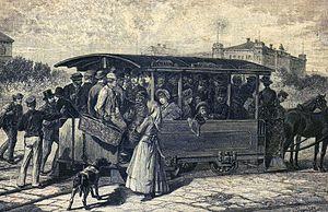 Trams in Vienna - Suburban horsecar tram at Wien Westbahnhof, 1885.