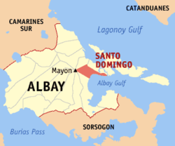 Map of Albay with Santo Domingo highlighted