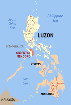 Map of the Philippines with Oriental Mindoro highlighted