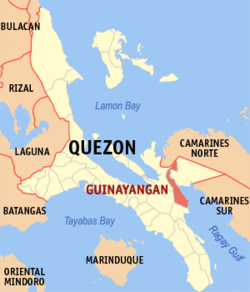 Map of Quezon showing the location of Guinayangan