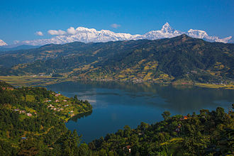Phewa Lake - Reflection of the Annapurna Range on Phewa Lake