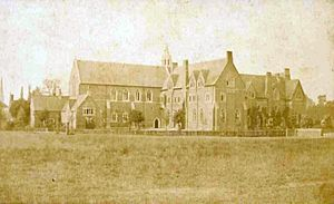 Bloxham School - The School from the front, circa 1890, before the construction of the Memorial Arch.
