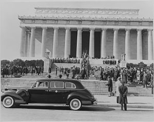 Lincoln's Birthday - Photograph of ceremony at Lincoln Memorial attended by Vice President Truman, celebrating Lincoln's Birthday on February 12, 1945.