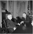 Photograph of former President Truman with President Lyndon B. Johnson, probably at the White House during the... - NARA - 200446.tif