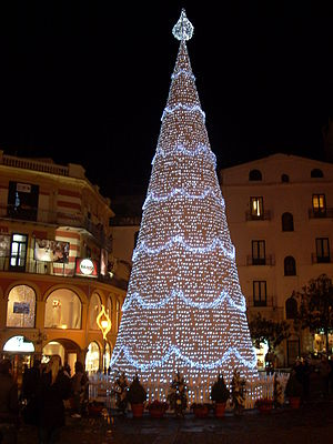 Christmas tree in Piazza Portanova, Salerno ol...