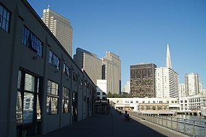 Central Embarcadero Piers Historic District - View of Pier 1 with Downtown San Francisco in background