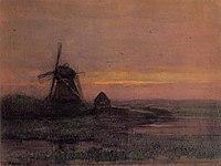 Piet Mondriaan - Oostzijdse mill with streaked reddish sky - A407 - Piet Mondrian, catalogue raisonné.jpg