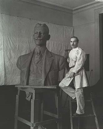 Pietro Montana - Montana in his studio with his Bust of José di Diego, circa 1934, Smithsonian Museum of American Art.