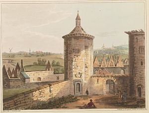 "Battle of Ligny - ""Ligny Castle, showing the field of battle where the Prussians and French fought on the 16th June. Sombreffe is seen in the distance, as are also the mill, church, and heights of Brie"". Painted shortly after the battle by C.C. Hamilton and engraved by James Rouse (1817)"