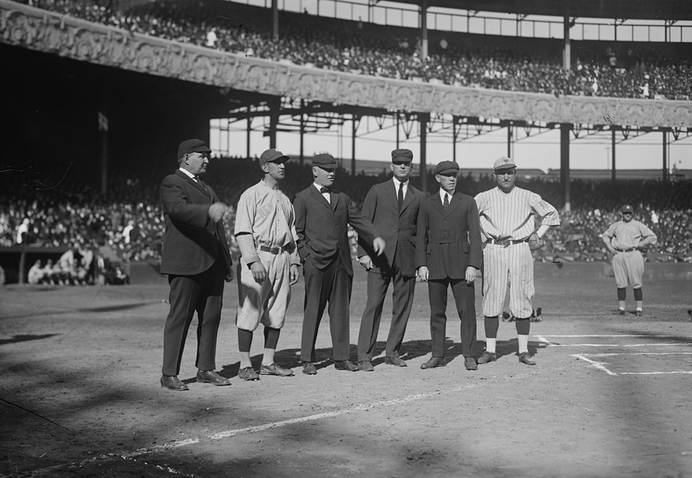 Players and umps at 1921 World Series