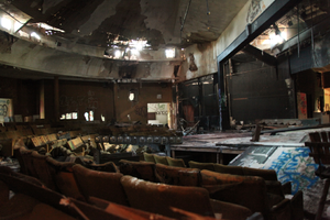 Pleasure Beach - The abandoned community theater is one of the few buildings that remain on the peninsula (shown here as it stands August 2012.)