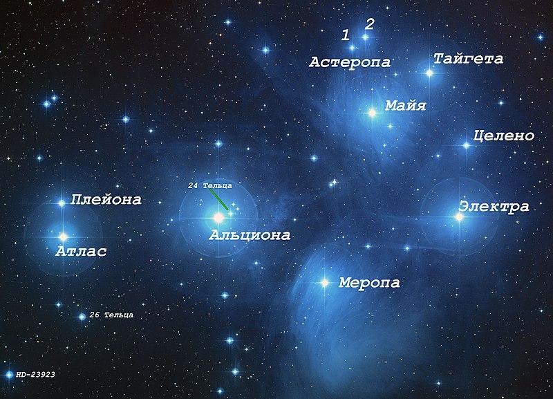 Карта звездного скопления Плеяды