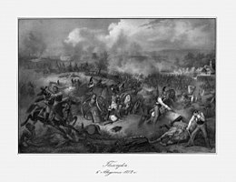 Print showing a chaotic scene of fighting of which the most prominent figures are Russian horsemen dressed in white coats, dark cuirasses, gray breeches, and crested helmets