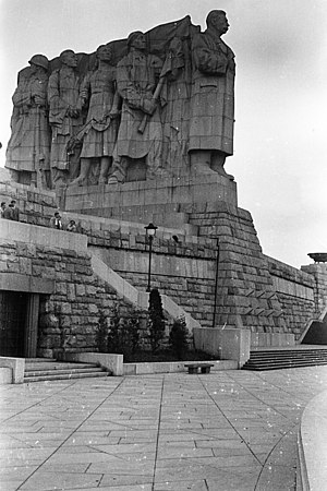 Stalin Monument (Prague) - The Stalin Monument and pedestal viewed from the West