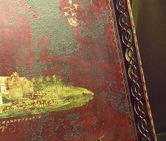Pontypool japan - Red-japanned iron tray in Cardiff Museum, commemorating Kelmarsh Old Hall, home of the Hanbury family