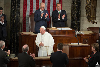 Joint session of the United States Congress - Pope Francis addresses Congress in 2015 as Head of State of Vatican City. Behind him are Vice President Biden and Speaker Boehner.