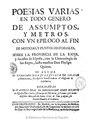 Portada del libro titulado Poesías varias en todo su género de assumptos, y metros con un epilogo al fin de noticias y puntos historiales sobre la provincia de La Rioja...., año 1732.pdf