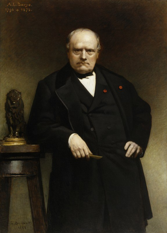Portrait of Barye with a Wax Model of Seated Lion Bonnat