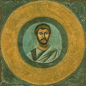 Terence - Alleged portrait of Terence, from Codex Vaticanus Latinus 3868.  Possibly copied from 3rd-century original.