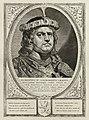 Portret van Floris II, graaf van Holland, met een met parels en edelstenen verfraaide hoofddeksel. De omlijsting is versierd met het wapen van Holland. NL-HlmNHA 1477 53012904.JPG