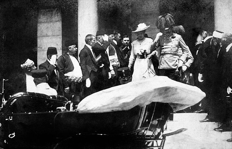 Franz Ferdinand and his wife Sophie leave the Sarajevo Guildhall