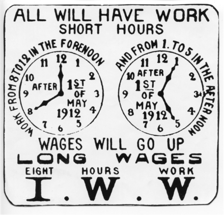 Poster promoting the Industrial Workers of the World (IWW) campaign for the eight-hour workday, 1912. Poster promoting the iww campaign for the eight hour work day 1912.png