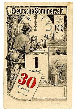Postkarte zur Einführung der Sommerzeit in Deutschland am 30. April 1916