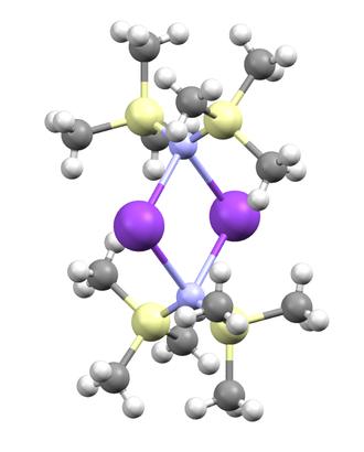 Potassium bis(trimethylsilyl)amide - Image: Potassium bis(trimethylsilyl)a mide unsolvated from crystal