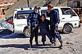 Potosi, Bolivia - we take a guided tour of the INFAMOUS underground Silver mine - Keith, our local guide & Phil - preparing to go underground - (24213134423).jpg