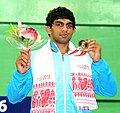 Pradeep (India) won Gold medal in 61Kg Men's wrestling, at the 12th South Asian Games-2016, in Guwahati on February 07, 2016.jpg