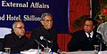 """Pranab Mukherjee, the Governor of Meghalaya, Shri B.L. Joshi and the Meghalaya Chief Minister, Shri D. D. Lapang at the seminar on """"Look East Policy Geography as an opportunity"""" in Shillong, Meghalaya on June 16, 2007.jpg"""