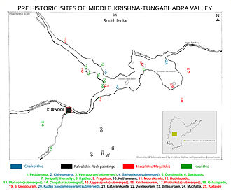 Kurnool district - Pre Historic Sites of Middle Krishna-Tungabhadra Valley are scattered at many parts of Kurnool district