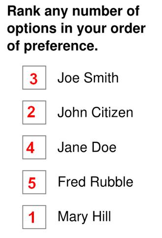 Preferential block voting - Image: Preferential bloc voting ballot 3