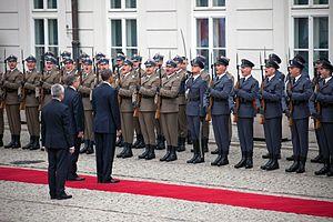 State Partnership Program - Image: President Barack Obama and President Bronislaw Komorowski review troops