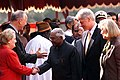 President Clinton and Ambassador Dick Celeste introduce President Narayanan to the US delegation. Arrival Ceremony, Rashtrapati Bhavan, New Delhi.jpg