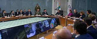 Hurricane Patricia - President Enrique Peña Nieto meets with cabinet members to discuss Hurricane Patricia on October 23