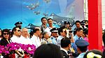 President Ma Use Binocular Watching Fighter Flight Demo in Chiayi AFB Reviewing Stand 20120811.jpg