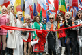 Pride in London 2016 - Jennifer Saunders and Joanna Lumley as their Absolutely Fabulous characters about to cut the ribbon for the parade.png