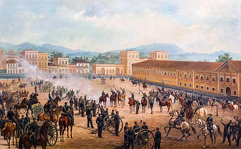 Proclamation of the Republic, 1893, oil on canvas by Benedito Calixto. Proclamacao da Republica by Benedito Calixto 1893.jpg