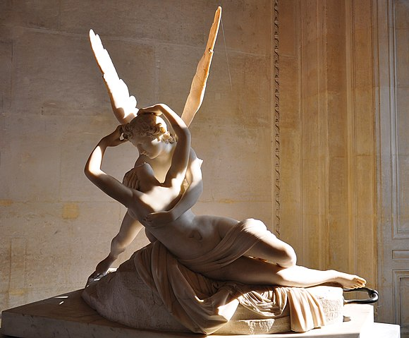 Psyche Revived by Cupid's Kiss; by Antonio Canova; 1787; marble; 155 cm x 168 cm; Louvre Psyche revived by cupid's kiss, Paris 2 October 2011 002.jpg
