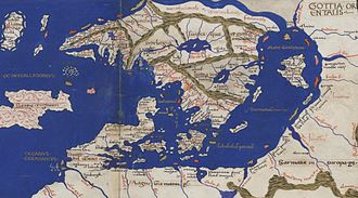 Continental Europe - Map of the Scandiae islands by Nicolaus Germanus for a 1467 publication of Cosmographia Claudii Ptolomaei Alexandrini.