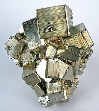 Striation (geology) - Striations on pyrite crystals