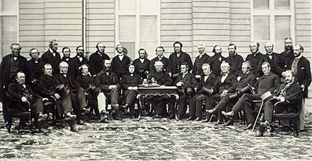 Delegates of the Quebec Conference of 1864. Retention of separate school boards with public funding was a major issue towards Canadian Confederation. QuebecConvention1864.jpg