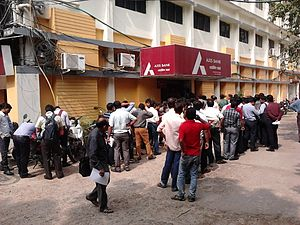 2016 Indian banknote demonetisation - Image: Queue at Bank to Exchange INR 500 and 1000 Notes Salt Lake City Kolkata 2016 11 10 02103