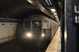 C (New York City Subway service) - A train made of R32 cars in C service entering Fulton Street, bound for 168th Street.